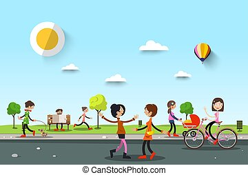 People in City Park. Woen on Street and Man Reading Newspapers on Bench. Vector Illustration.