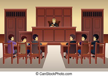 People in Court Scene Illustration