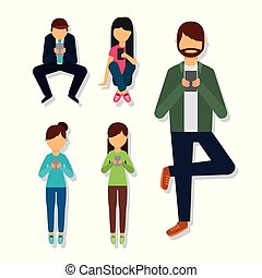 people in different poses using mobile phone
