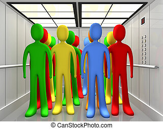 People In Elevator - Computer Generated Image - People In...