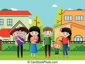 People in family on the grass