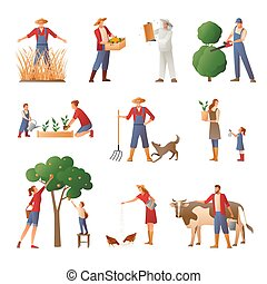 People In Farming Flat Icons Set