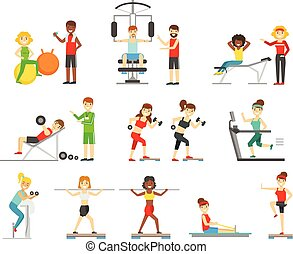 People In Fitness Center Exercising Under COntrol Of Personal Trainer