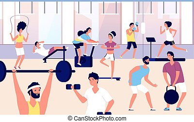 People in gym. Athletes group doing fitness exercise, cardio training and weight lifting in gym. Sports lifestyle vector concept