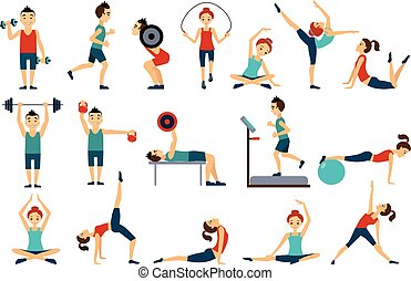 People in gym set, workout man and woman exercising vector Illustrations on a white background