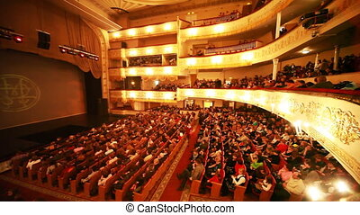 People in hall expect continuation of operetta Graph Monte Cristo at Moscow Operetta Theater
