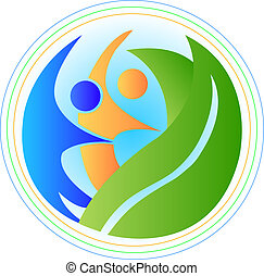 People in harmony with the nature earth logo