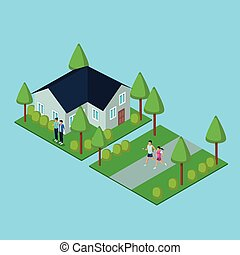 People in home 3d icon vector illustration graphic design