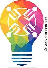 People in light bulb vector design. Corporate business and industrial creative logotype symbol.