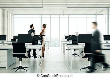 People in light coworking office