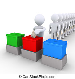People in line voting among three choices - 3d people in a...