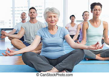 People in lotus pose with eyes closed at fitness studio