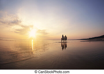 People in love at sunset in the sea