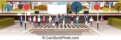 people in masks holding placard and megaphone city street cityscape background nature air pollution protesting concept horizontal