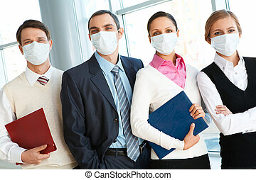 People in masks - Portrait of business team in protective...