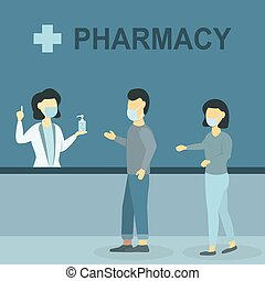 People in medical masks in the pharmacy