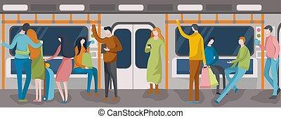 People in metro. Interior modern city public transport. Flat vector illustration