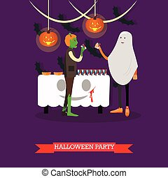 People in monster and ghost costumes at halloween party. Happy holiday concept posters. Vector illustration in flat style design