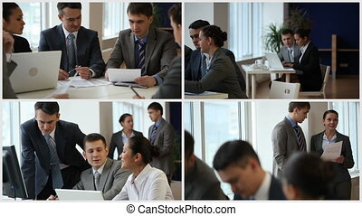 Business group working and interacting in office