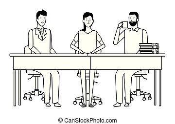 people in office desk black and white