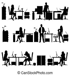 people in office silhouette illustration