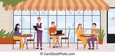 People in outdoor cafe. Restaurant street patio with sitting...