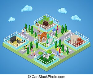 People in Outdoor Zoo Park with Animals. Isometric vector flat 3d illustration