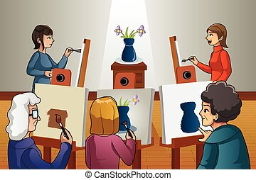 People in Painting Class