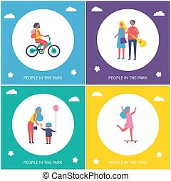People in Park Cartoon Style Color Vector Banner