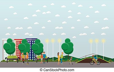 People in park concept banner. Time with kids and friends. Vector illustration in flat style design