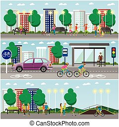 People in park concept banners. City landscape with road and parks. Vector illustration