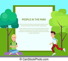 People in Park Poster and Form Vector Illustration
