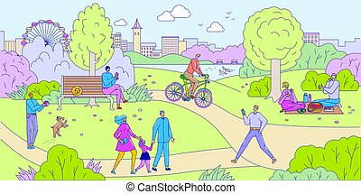 People in park vector illustration. Outdoor activity and leisure in parkland. Cartoon characters relax in city park. Man plays with his dog. Couple have picnic. Family walks together. Boy rides bike.