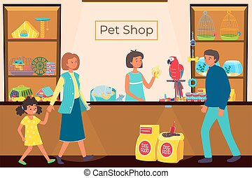 People in pet shop, store with animals, food for dogs, cute little cat, successful business, cartoon style vector illustration.
