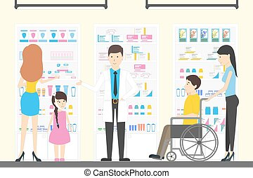 People in pharmacy store. People with different illneses and...