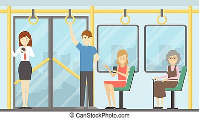 People in public transport. Standing and sitting passengers.