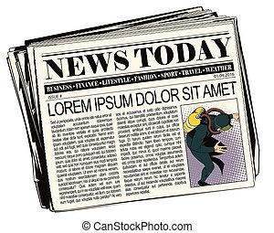 Stock illustration. People in retro style pop art and vintage advertising. Diver. Newspaper article.