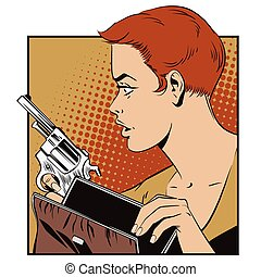 People in retro style. Girl with a gun.