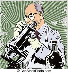 People in retro style. Scientist with microscope.