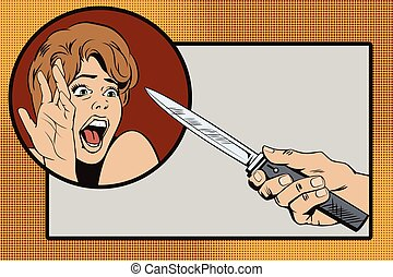 People in retro style. The attack on the girl.