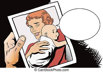 People in retro style. Woman with a baby.