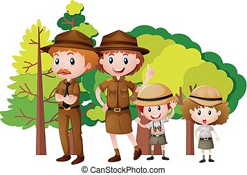 People in safari outfit in the forest