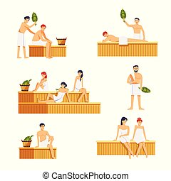 People in sauna man and woman characters. Vector icons