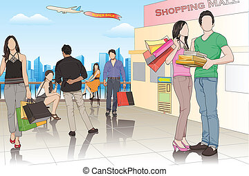 People in Shopping Mall - easy to edit vector illustration...