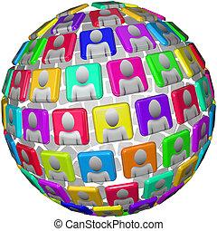 People in Spherical Pattern - Global Social Network Sphere