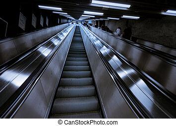 People in Stockholm metro station, Sweden, Europe