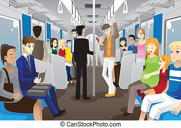 People in subway train - A vector illustration of people...