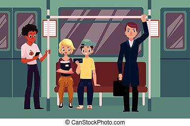 People in subway train car, sitting, standing and holding handrails