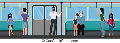People in subway train using during quarantine corona virus ...