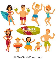 People in swimsuits on summer holidays colorful collection